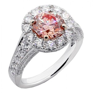 Pink 3.68 Cts Round Cut Fancy Set In Platinum Engagement Ring
