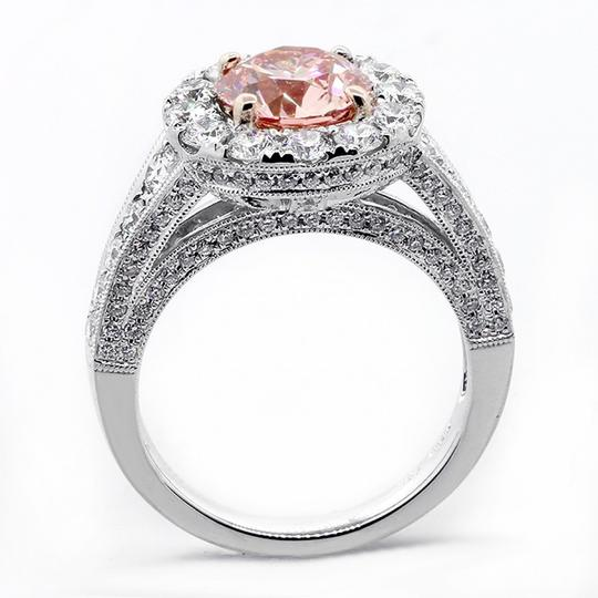 Pink 3.68 Cts Round Cut Fancy Set In Platinum Engagement Ring Image 1