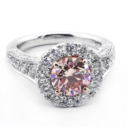 Pink 3.68 Cts Round Cut Fancy Set In Platinum Engagement Ring Image 2