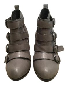 Coach Strappy Stiletto Leather Grey Boots