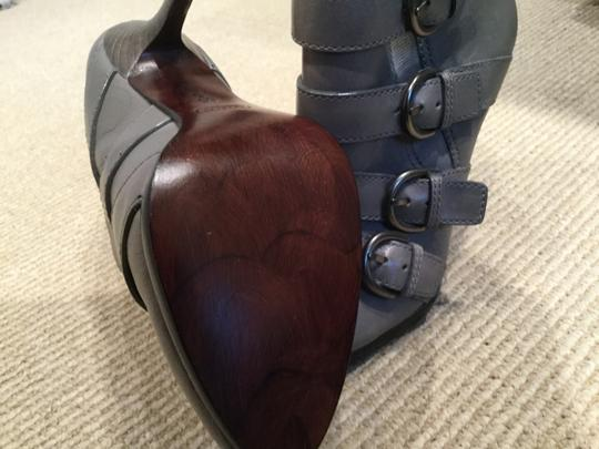 Coach Strappy Stiletto Leather Grey Boots Image 5