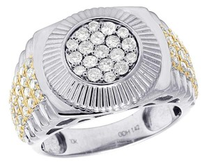 Jewelry Unlimited Men's 10K Two Tone Gold Diamond Round Presidential Ring 1.42 Ct 12MM