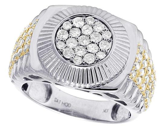 Jewelry Unlimited Men's 10K Two Tone Gold Diamond Round Presidential Ring 1.42 Ct 12MM Image 2
