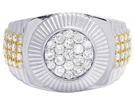 Jewelry Unlimited Men's 10K Two Tone Gold Diamond Round Presidential Ring 1.42 Ct 12MM Image 3
