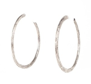 Stephen Dweck Stephen Dweck Sterling Silver Engraved Hoop Earrings