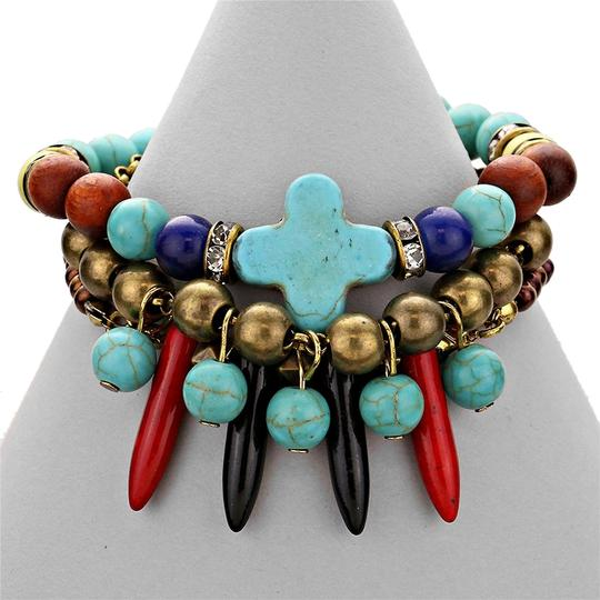 Other Semi Preciouse Howlite Turquoise Multicolor Layered Exotic Tribal Boho Chic Bracelet