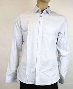 Gucci White/Blue Men's Cotton Striped Slim Fit 43/17 268884 4465 Shirt