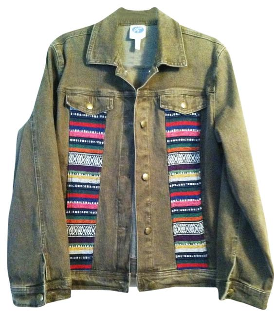 DG2 by Diane Gilman Tan with western blanket embroidery on front Womens Jean Jacket