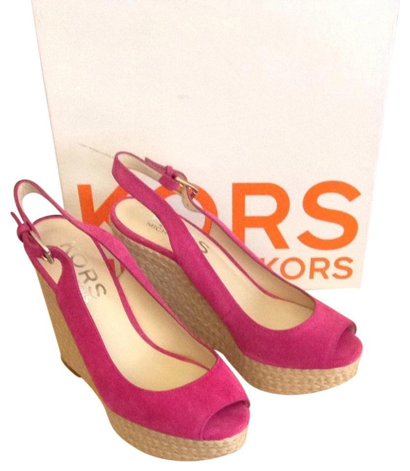 7e0ada8745a Michael Kors Pink Keelyn 41r3kemg1s Wedges Size US 7.5 Regular (M