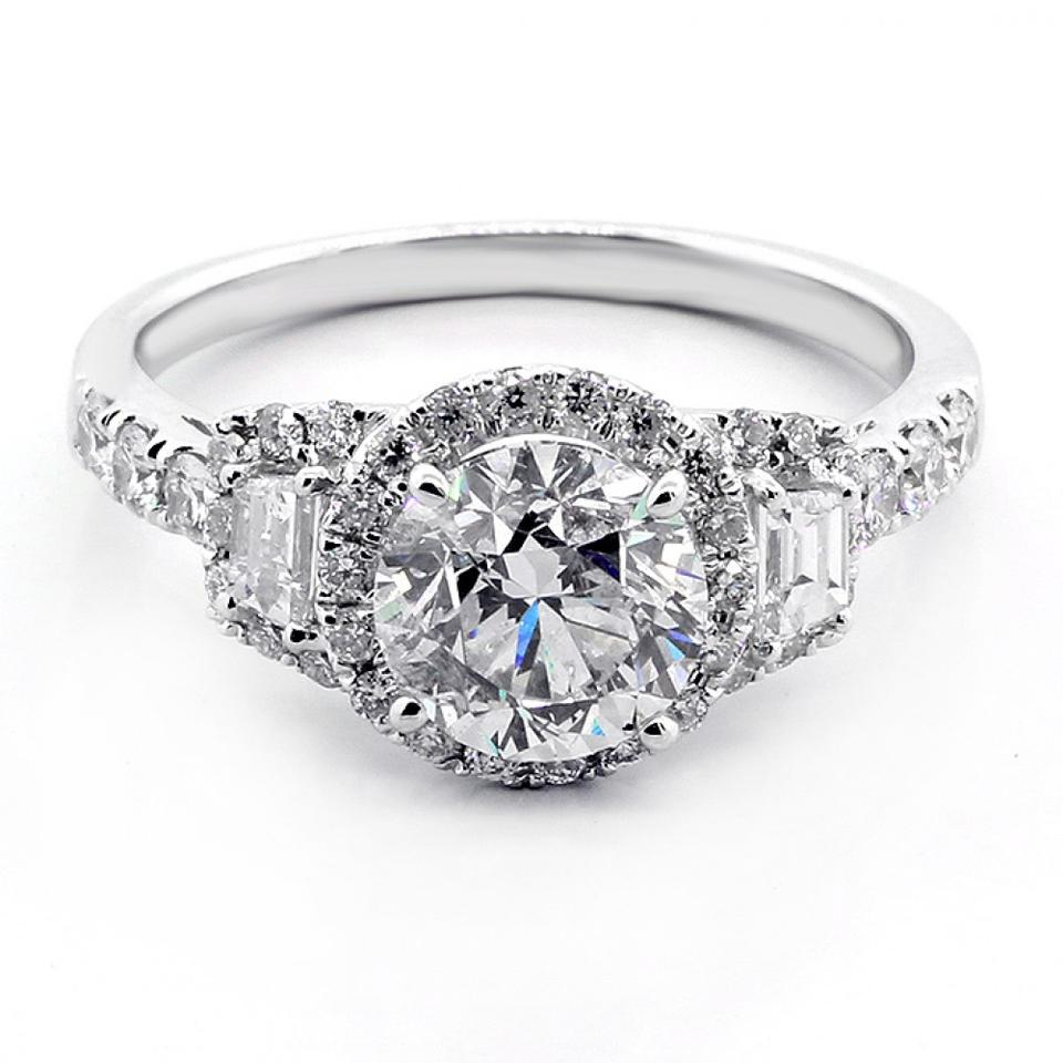 White 2.40ctw Round Cut Tapered Baguette with Halo Set In ...