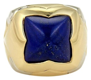 BVLGARI Bulgari Pyramid Lapis 18k Two Tone Gold Floral Dome Ring Size 6.5