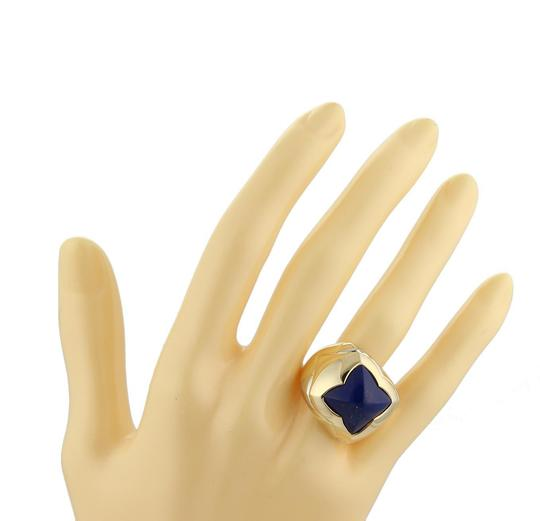 BVLGARI Bulgari Pyramid Lapis 18k Two Tone Gold Floral Dome Ring Size 6.5 Image 1