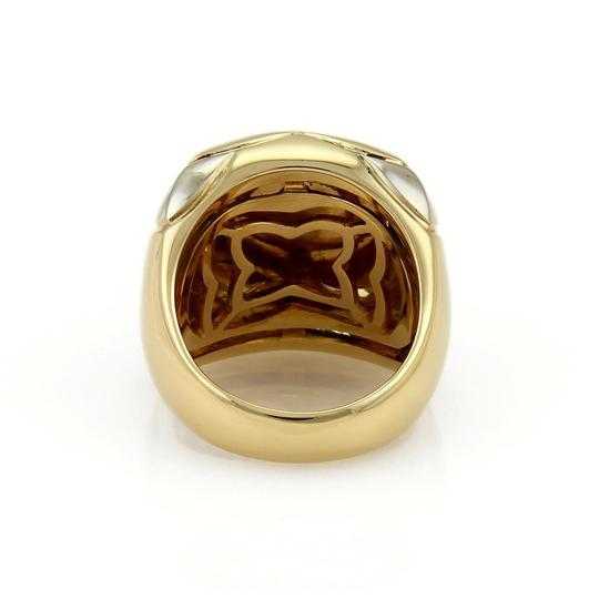 BVLGARI Bulgari Pyramid Lapis 18k Two Tone Gold Floral Dome Ring Size 6.5 Image 3
