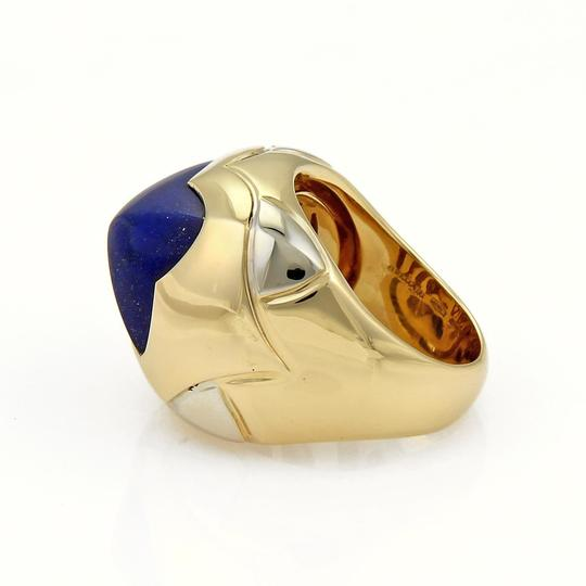 BVLGARI Bulgari Pyramid Lapis 18k Two Tone Gold Floral Dome Ring Size 6.5 Image 4