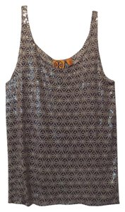 Tory Burch New Sequin Knit Medium Top Taupe, off-white