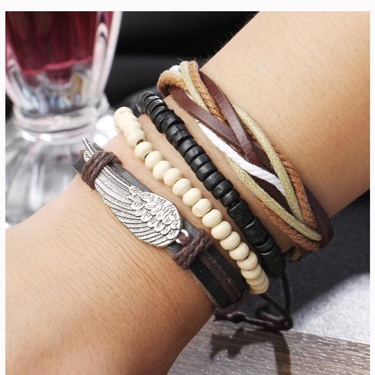 Queen Esther Etc 4 pcs Multilayer Leather Bracelets Sets Image 1