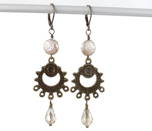 Handmade New Bohemian Champagne Chandelier earrings