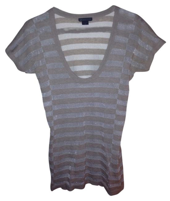 A|X Armani Exchange 70s Retro Striped T Shirt Grey