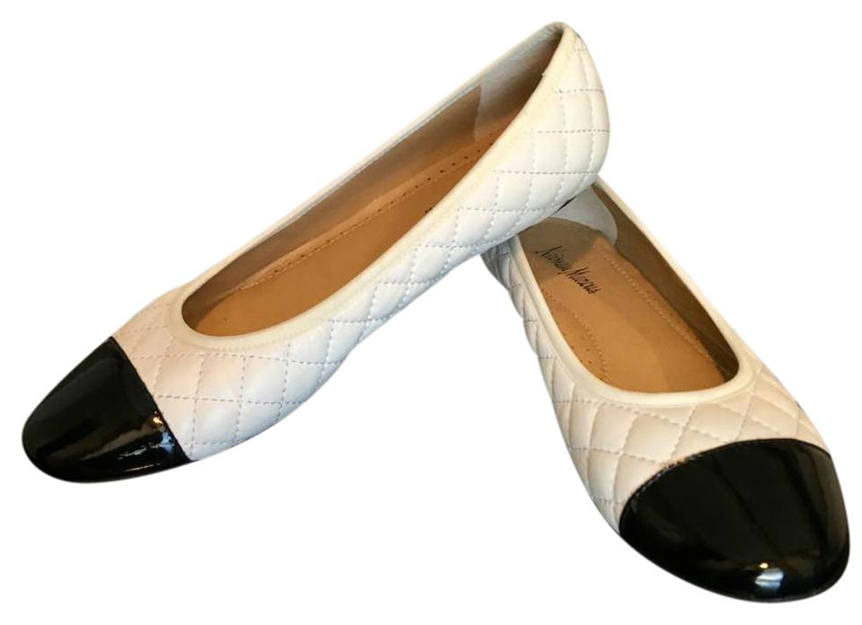 f5efb509592ff Neiman Marcus Saucey Quilted Cap Round Padded White w  Black Toe Flats  Image 0 ...