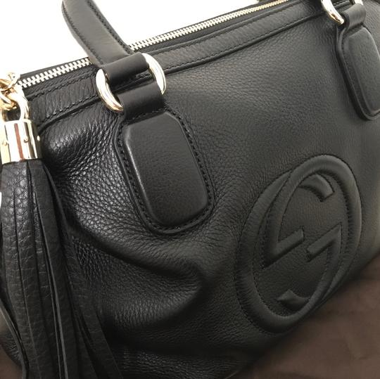 Gucci Leather Soho Satchel in Black Image 7