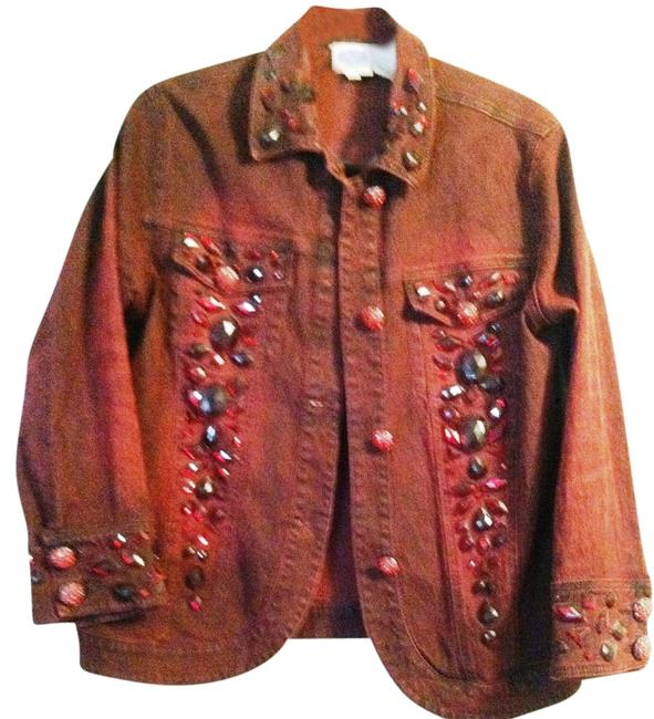 DG2 by Diane Gilman Size M reddish burgundy color with ruby colored bead embellishment and jewelry style red beaded buttons Womens Jean Jacket