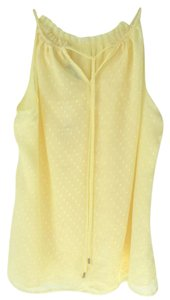 New York & Company Swiss Dot Feminine Size M Top Yellow