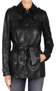 J Brand Leather Trench Carcoat black Jacket