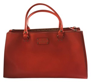 Kate Spade Leather Tote Satchel in Lipstick Orange