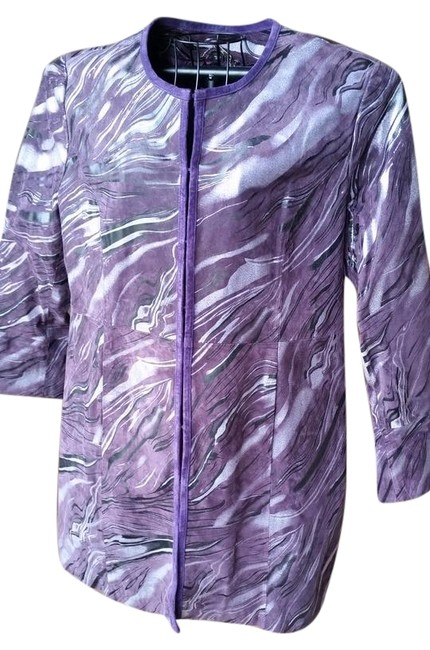 Preload https://img-static.tradesy.com/item/21951905/pamela-mccoy-purple-and-silver-marbling-suede-leather-with-coat-size-14-l-0-1-650-650.jpg