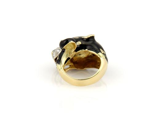 Other Estate 18K Yellow Gold Diamond & Emerald Enamel Leopard Bypass Image 5