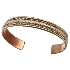 The Tibet Collection Copper and Brass Cuff Bracelet: Healing Path
