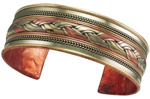 The Tibet Collection Copper and Brass Cuff Bracelet: Healing Ribbon