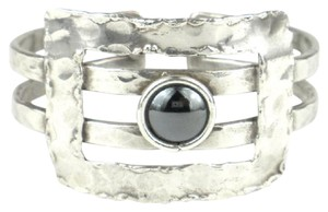 Brass Images Hematite Grill Silver Plated Cuff