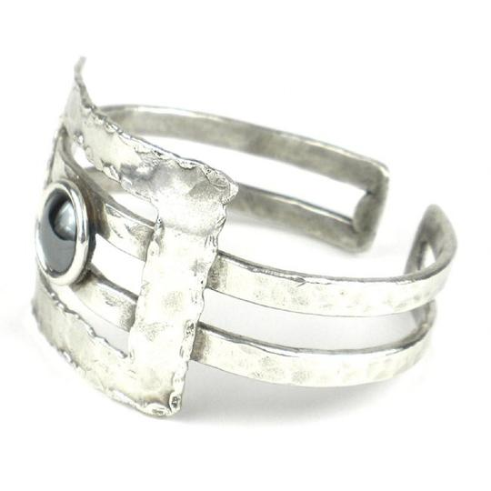 Brass Images Hematite Grill Silver Plated Cuff Image 1