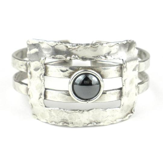 Brass Images Hematite Grill Silver Plated Cuff Image 2