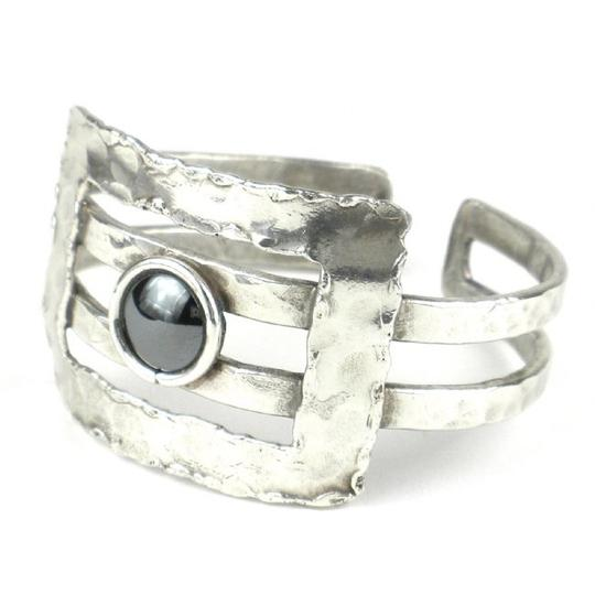 Brass Images Hematite Grill Silver Plated Cuff Image 3