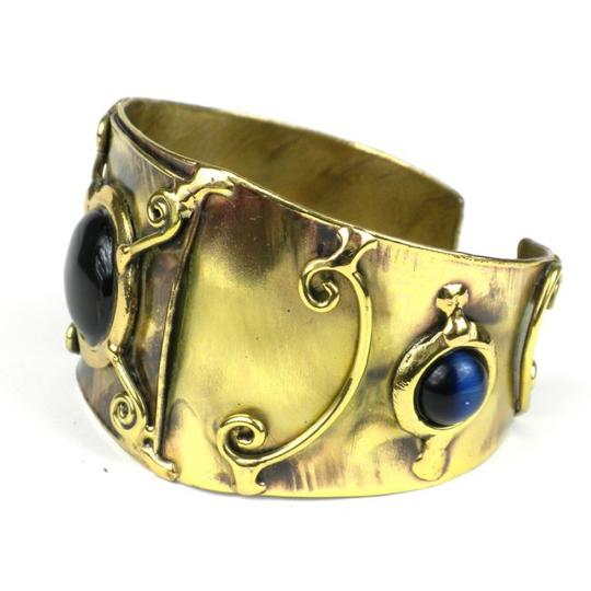 Brass Images X Squared Deep Blue Tiger Eye Cuff Image 2
