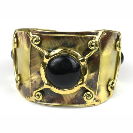 Brass Images X Squared Deep Blue Tiger Eye Cuff Image 3