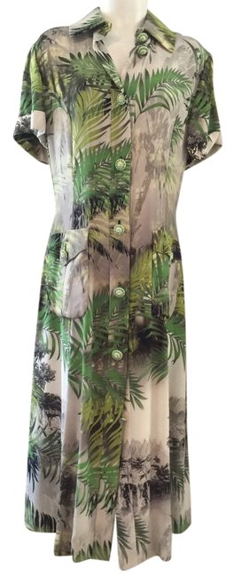 Preload https://img-static.tradesy.com/item/21952480/green-and-beige-print-alta-moda-mid-length-cocktail-dress-size-14-l-0-1-650-650.jpg