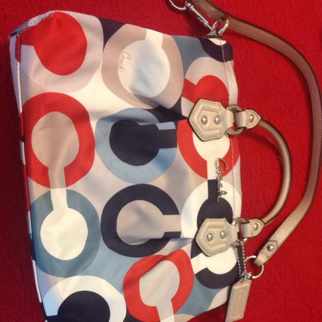 Item - Red White and Blue Fabric with Leather Straps Beach Bag