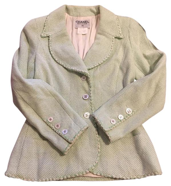 Item - Green/Cream Tweed Blazer with Silver Cc Logo Button Closure At Front Jacket Size 2 (XS)
