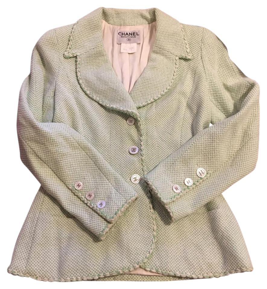 736c5b3a4020 Chanel Green/Cream Tweed Blazer with Silver Cc Logo Button Closure At Front  Jacket