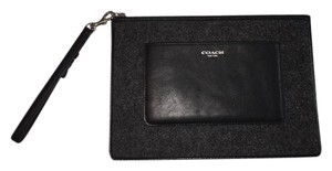 Coach Almost New Felt Wristlet in Grey and black