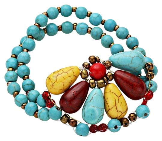 Other Semi Precious Stones Multicolor Turquoise Flower Motifs Stretchable Bracelet
