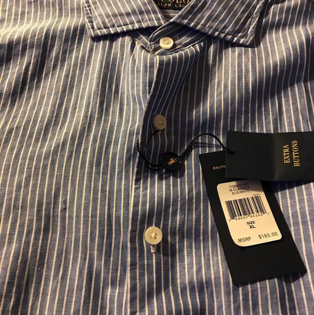 Preload https://img-static.tradesy.com/item/21952797/polo-ralph-lauren-bluewhite-spread-collar-cottonlinen-man-s-shirt-button-down-top-size-16-xl-plus-0x-0-1-650-650.jpg