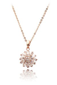 Ocean Fashion Brilliant little sun crystal rose gold necklace