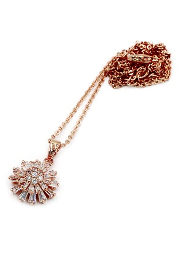 Ocean Fashion Brilliant little sun crystal rose gold necklace Image 1