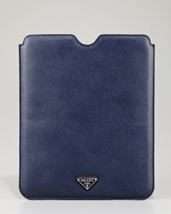 Prada NEW! iPad Case Tablet Sleeve Saffiano Leather Blue Made in Italy