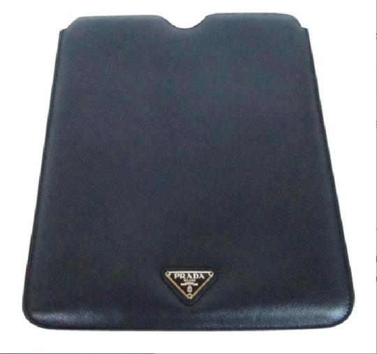 Prada NEW! iPad Case Tablet Sleeve Saffiano Leather Blue Made in Italy Image 4