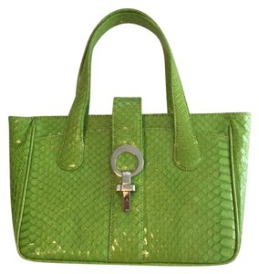 Hayward House Python Satchel in Lime green